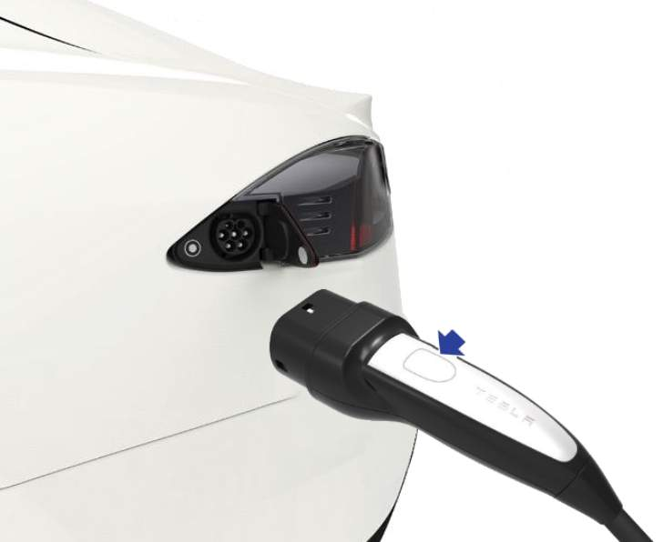 Charging Tesla Model S and button Charging